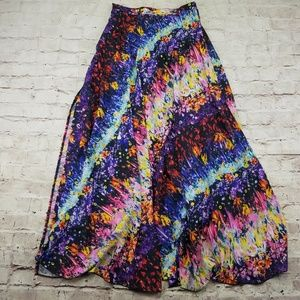 Everly Maxi Skirt Floral Colorful Side Slits Bride